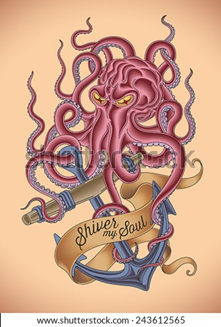 Old-school tattoo of an octopus tied around the sinking anchor. Editable vector illustration.