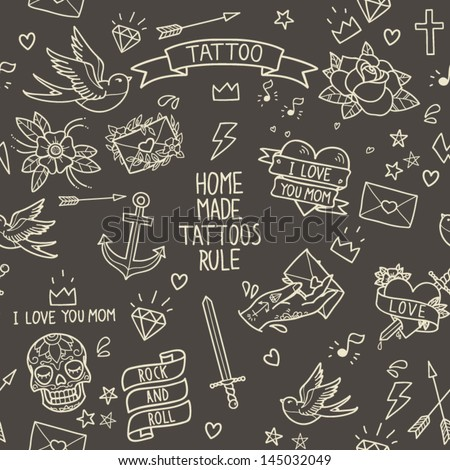 Old school tattoo seamless pattern. Cartoon tattoo elements in funny style: anchor, dagger, skull, flower, star, heart, diamond, scull and swallow - stock vector