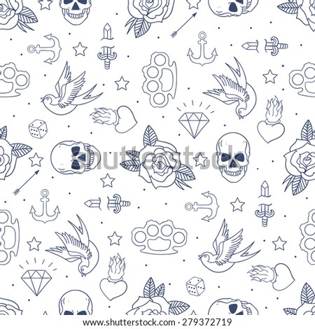 Old school tattoo seamless pattern. Cartoon vector tattoo doodle elements: anchor, dagger, skull, flower, star, heart, diamond, swallow, star, brass knuckles. Light background - stock vector