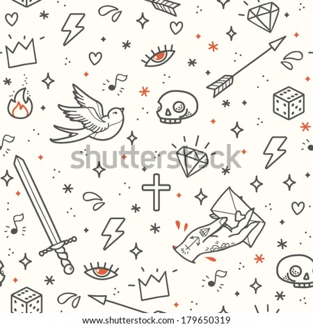 Old school tattoo seamless pattern. Cartoon vector tattoo elements in funny style: dagger, skull, flower, crown, heart, diamond, scull and swallow. Doodle in exercise book style  - stock vector