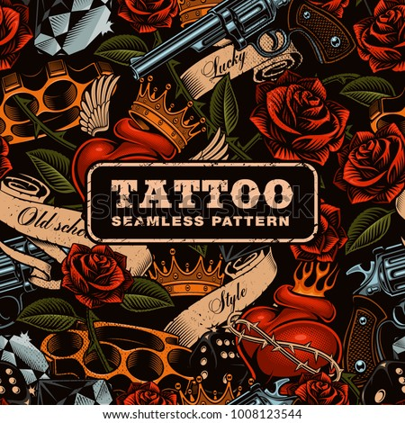 Old school tattoo seamless pattern texture vector de for Tattoo shops in nc