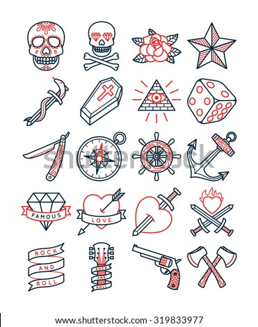 Old School Tattoo Set Stock Vector 319833977 Shutterstock