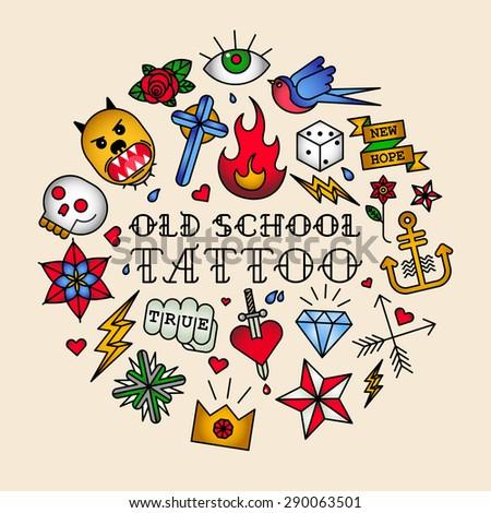 Old school tattoo vector illustration - stock vector