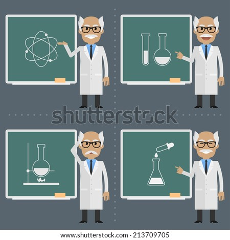 Old scientist indicates to chalkboard - stock vector