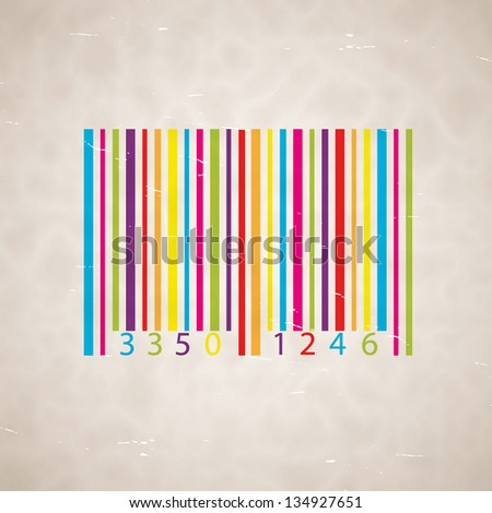 Old scrapped background with barcode. EPS10 vector - stock vector