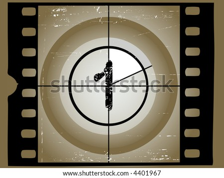 Old Scratched Film Countdown at No 1 - stock vector