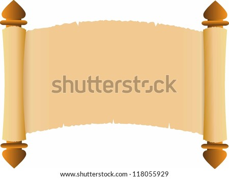 Old scroll on white background - stock vector