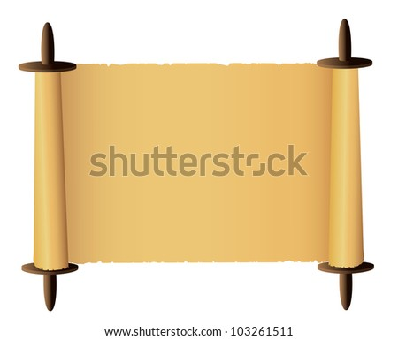 Old scroll on white background. Vector - stock vector