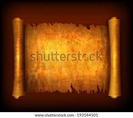 Old scroll paper isolated on white background. Vector - stock vector