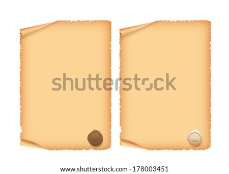 Old scroll paper with a wax seal isolated on a white background - stock vector