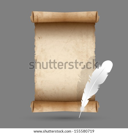 Old scroll paper with feather. Vector EPS10 - stock vector