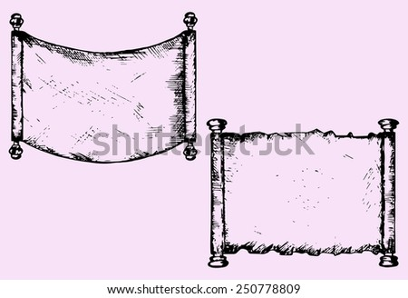 old scroll parchment, doodle style, sketch illustration - stock vector