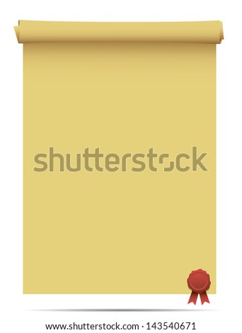 Old scroll with a wet seal illustration design over white - stock vector