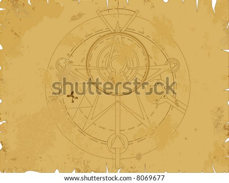 Old scroll with alchemy pentagram - stock vector