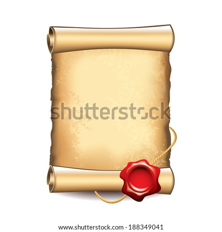 Old scroll with wax seal isolated vector illustration - stock vector