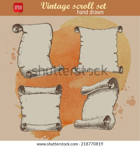 Old scrolls sketch style set on watercolor background - stock vector