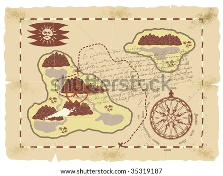 Old sea map of the island of treasures. - stock vector