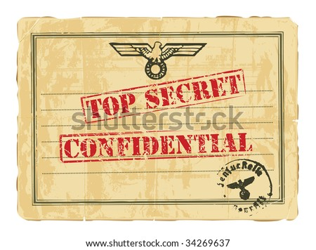 Old secret military document of World War II. - stock vector