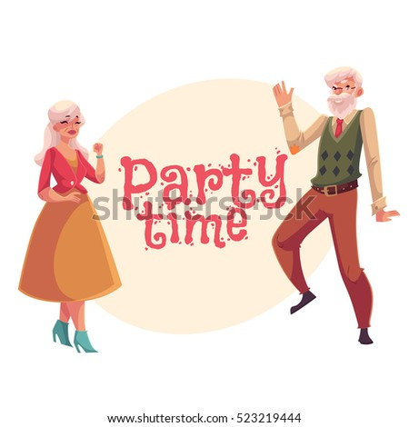 Old senior man woman dancing cartoon stock vector hd royalty free old senior man and woman dancing cartoon style invitation banner poster m4hsunfo