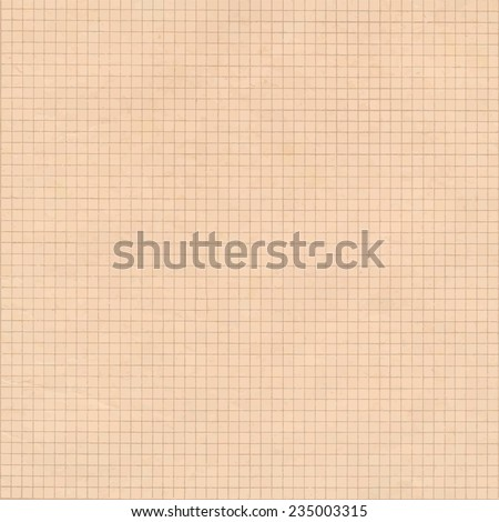 Old sepia graph paper square grid background. - stock vector