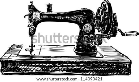 old sewing machine - stock vector