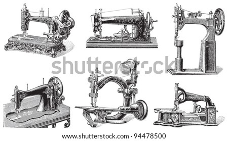 Old sewing machine collection / vintage illustrations from Meyers Konversations-Lexikon 1897 - stock vector