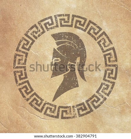 old shabby symbol of reproduction on paper Spartan warrior in grunge style