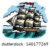 Old Ship - stock vector