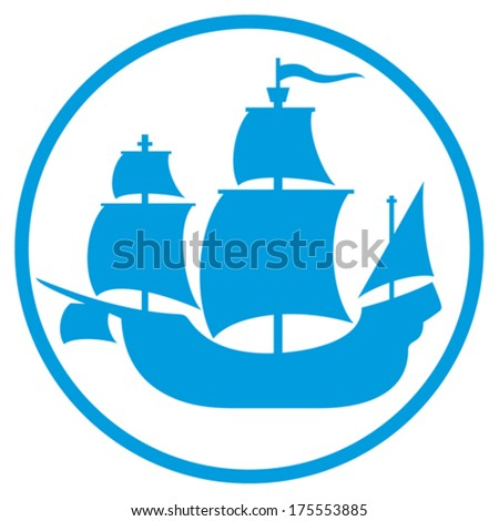 old ship icon (pirate ship, sailing ship sign, old ship silhouette) - stock vector