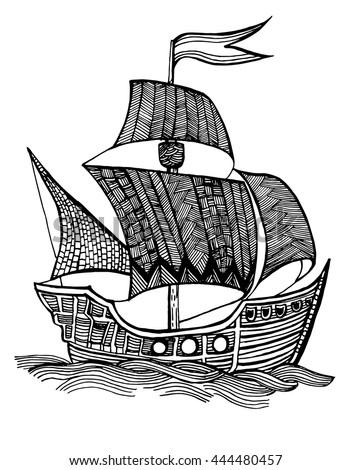 Pirate Ship Fleet A Wooden Vessel Line Art
