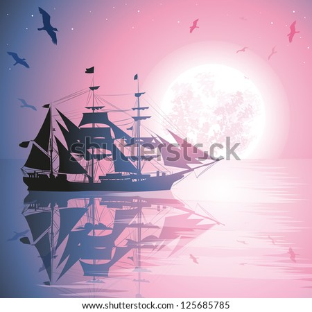 Old Ship Sailing Open Seas - stock vector
