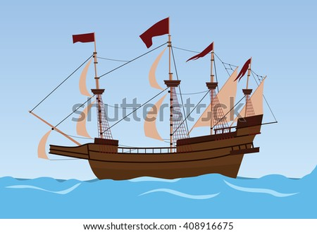 old ship sailing vector illustration on the sea