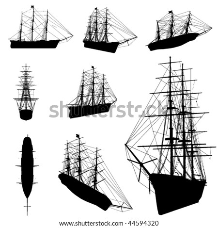 old ship silhouette set - stock vector