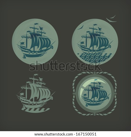 Old ship. Vector format - stock vector