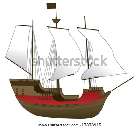 Old Ship Vector Illustration - stock vector