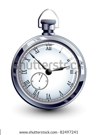 Old silver watch - stock vector