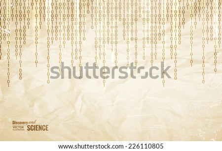 Old simbols in matrix style over old paper. Vector illustration. - stock vector