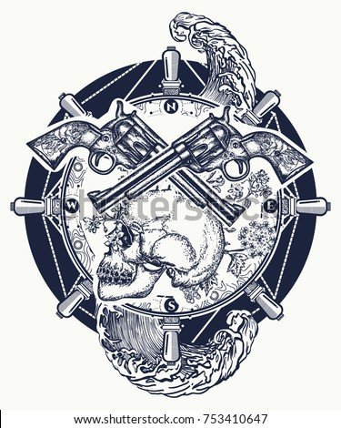 Old skull pirate steering wheel crossed revolvers tattoo and t-shirt design. Symbol sea adventures