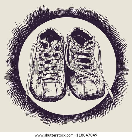 Old Sneakers And Grunge Drawing Texture . Monochrome Hand Drawn. Vector Object Isolated. - stock vector
