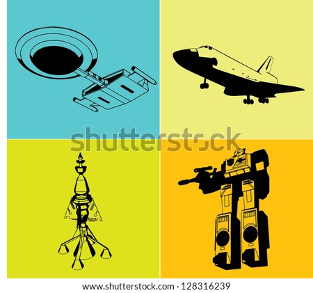 old space set - stock vector