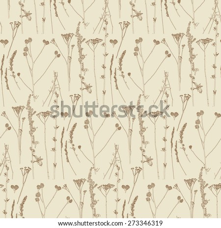 old spring herbs after snow pattern - stock vector