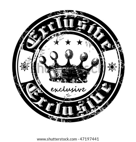 Old stamp from the Gothic word exclusive.