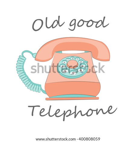old stationary red rotary dial phone, vintage telephone on white
