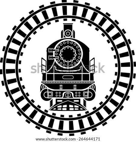 Old steam locomotive railway frame, stencil - stock vector