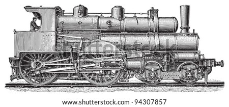 Old steam locomotives / vintage illustration from Meyers Konversations-Lexikon 1897 - stock vector