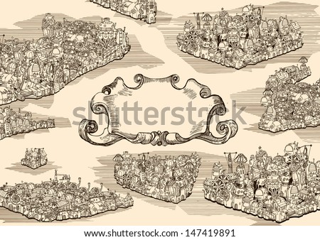 Old steampunk city with banner. - stock vector