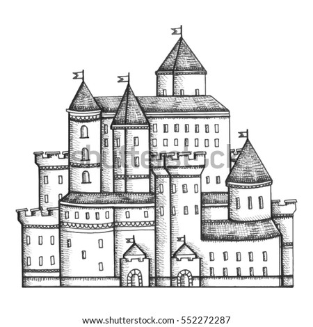 old stone castle with towers drawing vector illustration
