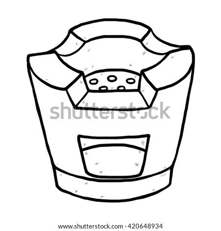 Old Stove Cartoon Vector And Illustration Black White Hand Drawn Sketch