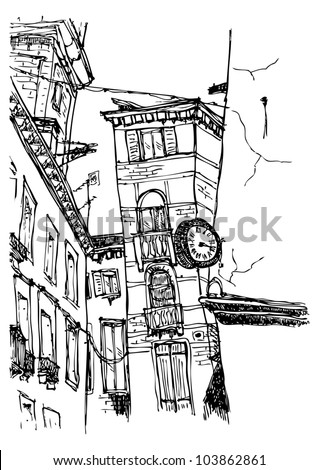Old street sketch in vector - stock vector