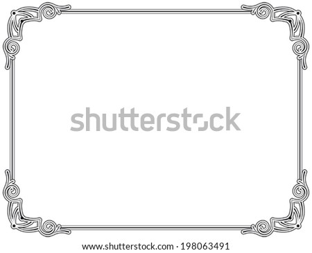 Old style black decorative frame, very easy to adjust the size - stock vector